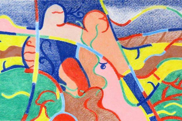 'Threesome', L 36 x B 26,5, Kleurpotlood, 2016