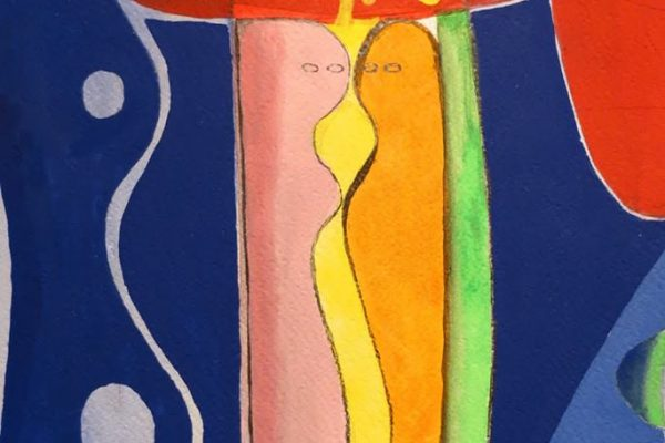 'Dichtbij I', L 26,5 x B 36, Acryl op papier, 2014