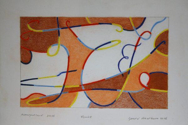 'Vlucht', L 35 x B 25, Kleurpotlood, 2016