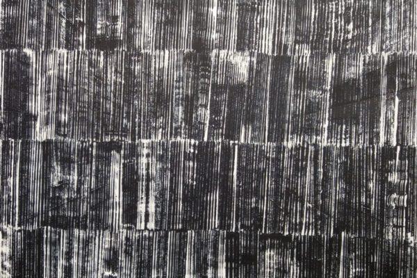 'Onderzoek Wit Op Zwart', L 70 x B 90, Acryl op doek, 2018