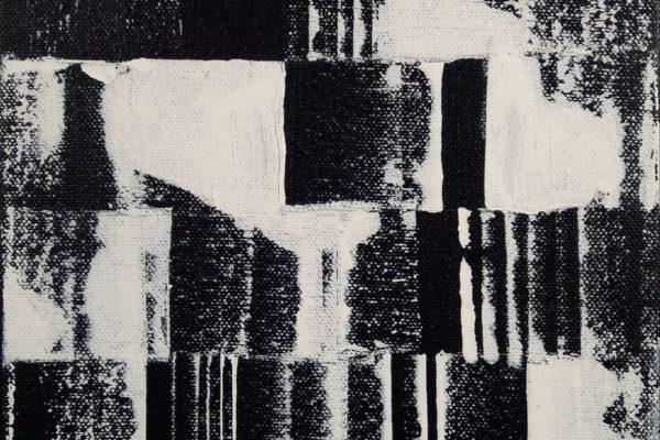 'Terug', L 18 x B 24, Acryl op doek, 2018