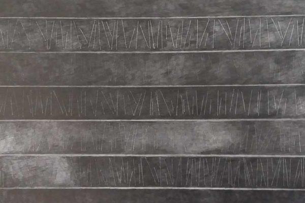 Pain and sorrow, L108 x B37, Grafiet op passe-partout karton, 2020