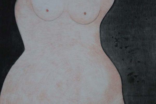 'The Sun, The Moon, The Woman', L 80 x B 120, Pastel houtskool, 2021